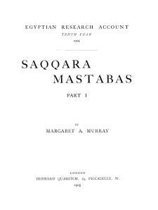 Murray Saqqara Mastabas