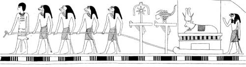 Procession dragging a mummified bull. From a scene in the tomb of Iset-hetem at Atfiyeh. After Petrie, Heliopolis, Kafr Ammar, and Shurafah, 1915, pl. 41.